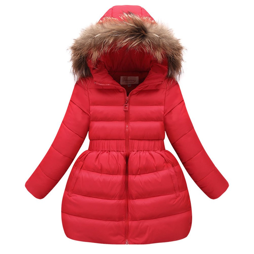 FREE FISHER Girls Puffer Down Jacket Furry Hooded Bubble Coat for Kids CA-2F2703