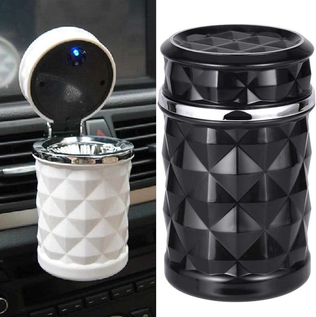Posacenere per auto da viaggio portatile con portacandele leggero a LED per cenere Portaspazzolino facile da staccare Supporto per veicolo auto senza fumo Posacenere bomboletta Color : Black