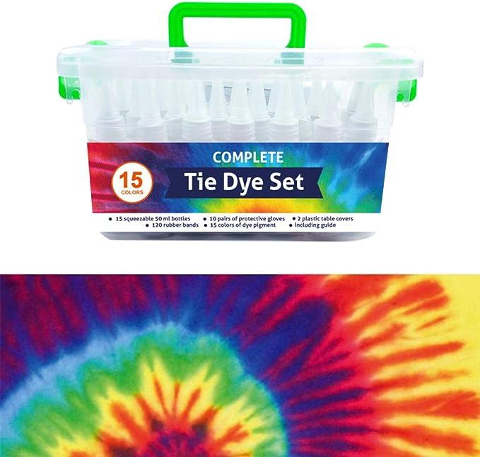 QBIX Tie Dye Set de 15 colores – Kit completo de tinte de tela con botellas elásticas y de apriete