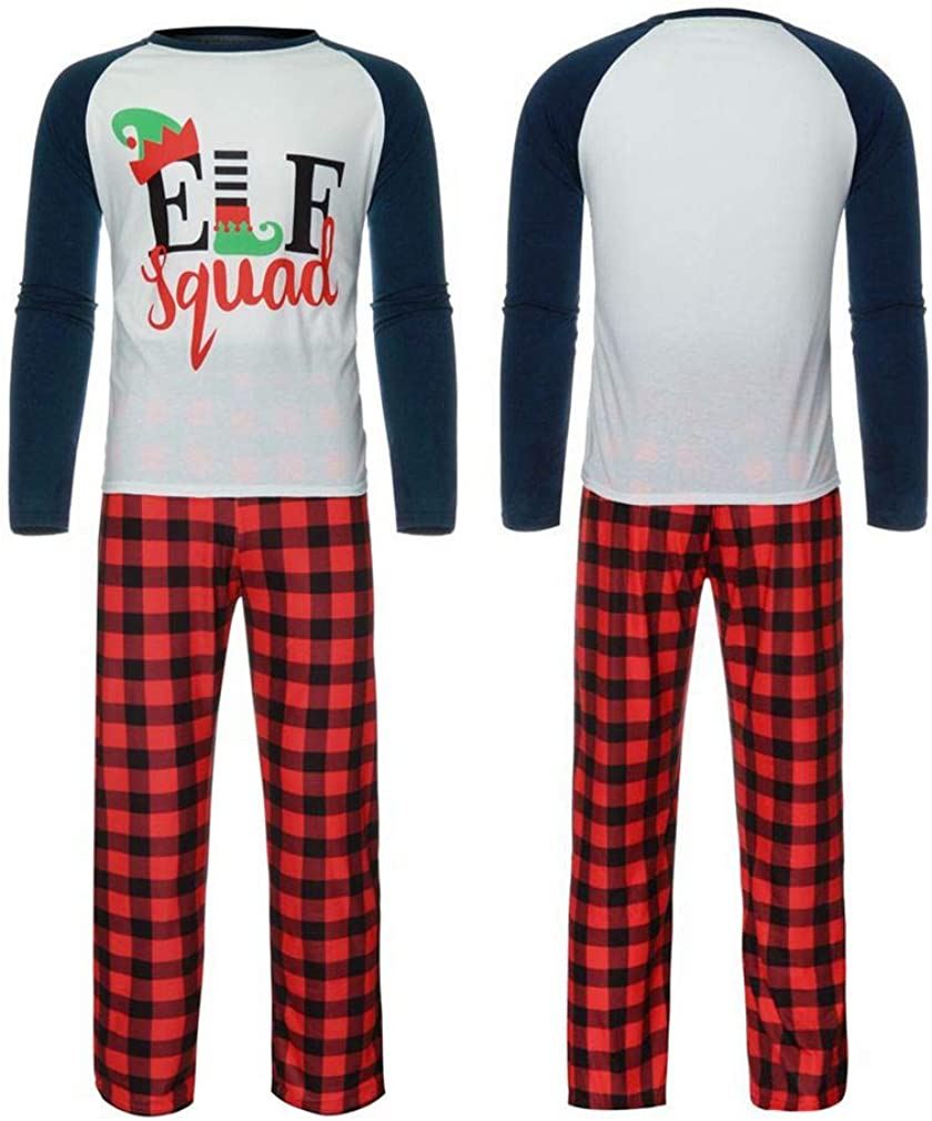 Kehen Matching Christmas Pjs for Family Elf Squad Kids PJs Sleepwear Winter Red Plaid Pants Set for Couple and Boy Girl