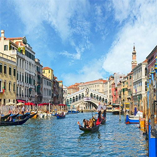 OFILA Italy Venice Backdrop 6x6ft Gondola Italian Palazzo Canal Lagoon Bridging Channel Ancient Brick Wall Watertown Background Adult Travel Themed Party Decoration Peofessional Photos Video -