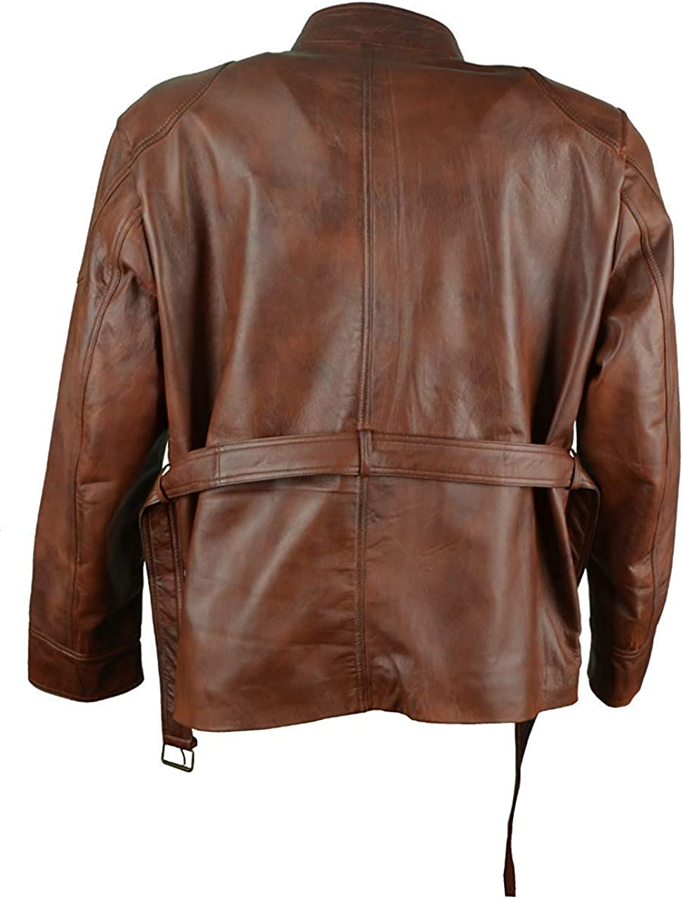Mens The Dark Knight Rises Tom Hardy Bane 4 Square Pockets Brown Leather Jacket