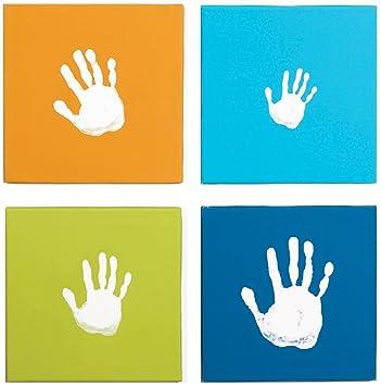 Amazon.com : Pearhead Canvas Handprint Wall Art Set, Blue ...