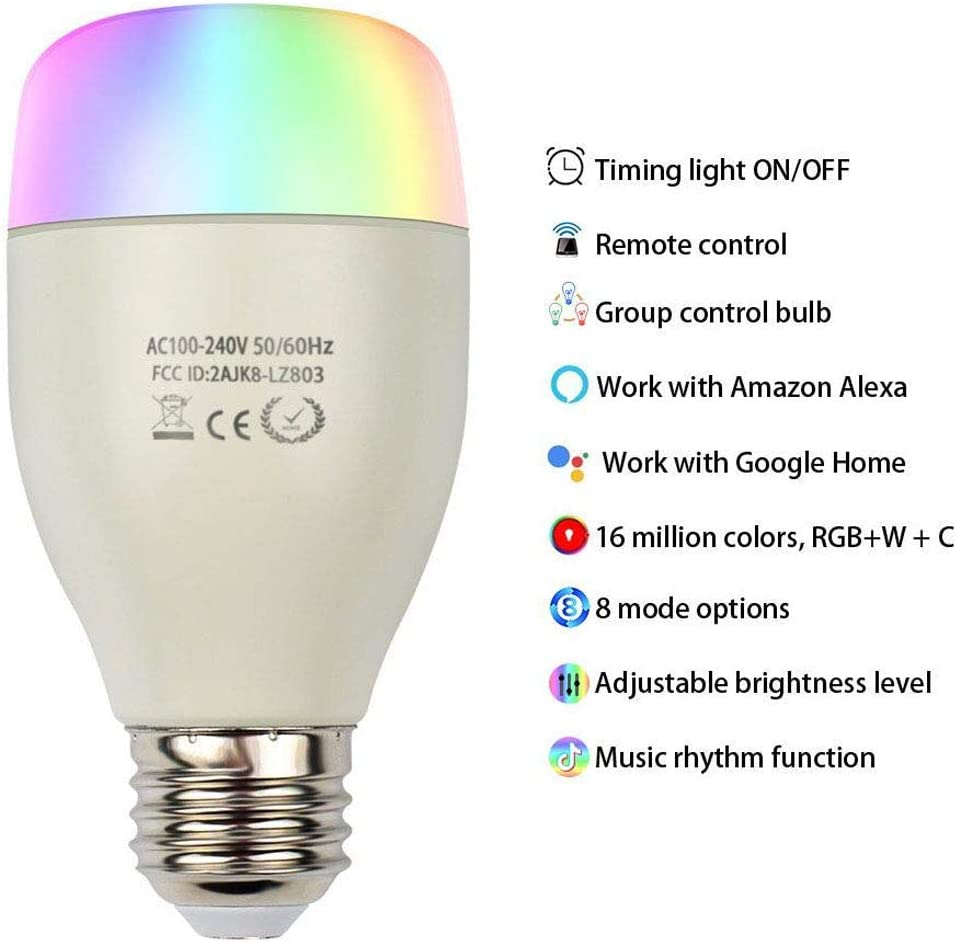 Smart Light Bulb A19 White Light Warm Light//Compatible with Alexa and Google Assistant Color Light Dimmable Wi-Fi LED Bulb 7W