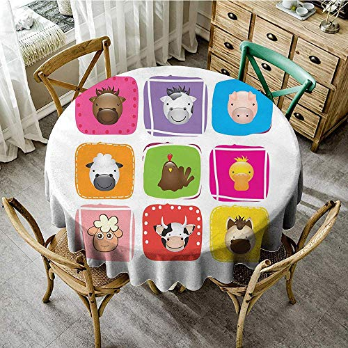 - DONEECKL Washable Tablecloth Baby Geometric Pattern with Squares Animal Faces Horse Chicken Cow Duck Sheep and Pig Picnic D55 Silver Emerald
