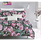 Luxury Floral Watercolor Duvet Cover by Cynthia Rowley, Blush Pink and Grey Blooming Garden on White 3 Piece Cotton Bedding Set 300 Thread Count (Queen, Peacock Navy)
