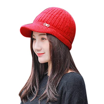 Image Unavailable. Image not available for. Color  EnjoCho 2018 Elegant Women  Knitted Hats Beanie Cap Autumn Winter Berets Ladies Female Fashion ... f03f3b05993a
