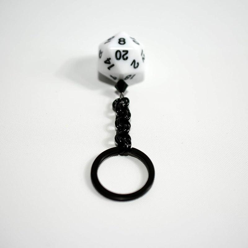 Twenty Sided Dice Keychain Black and White