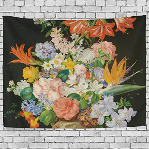Floral Vintage Tapestry (ALAZA Vintage Retro Elegant Floral Art Europe Oil Painting Tapestry Wall Hanging for Bedroom Light-weight Polyester Fabric Cottage Dorm Wall Art Home Decoration 60x51 Inches)
