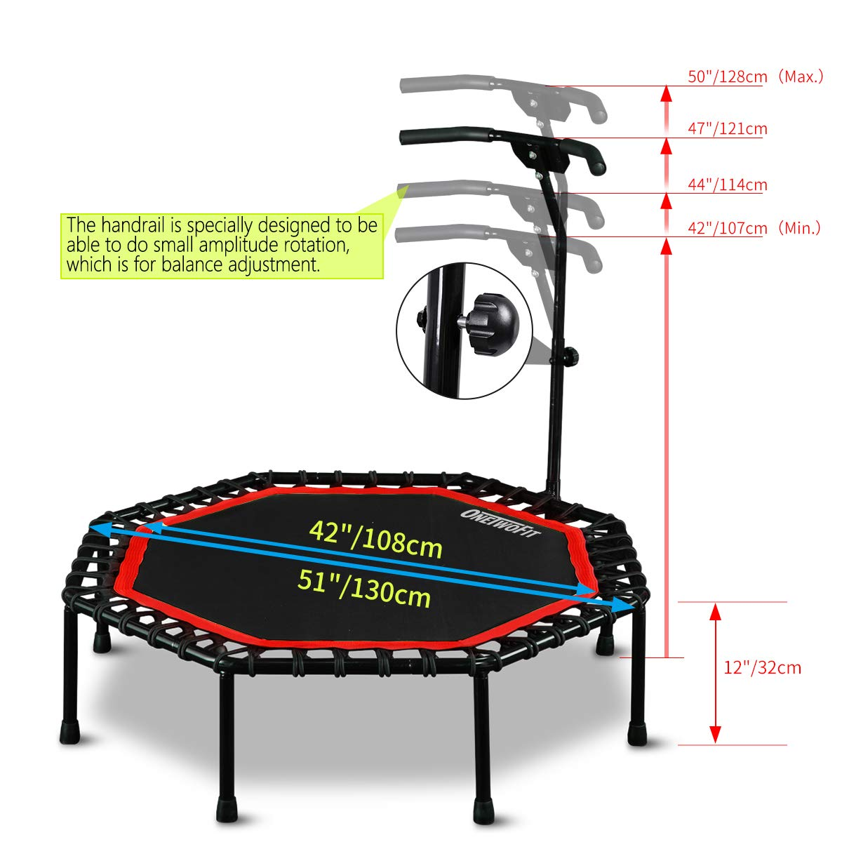 ONETWOFIT 51'' Silent Trampoline with Adjustable Handle Bar, Fitness Trampoline Bungee Rebounder Jumping Cardio Trainer Workout for Adults OT104 by ONETWOFIT (Image #2)