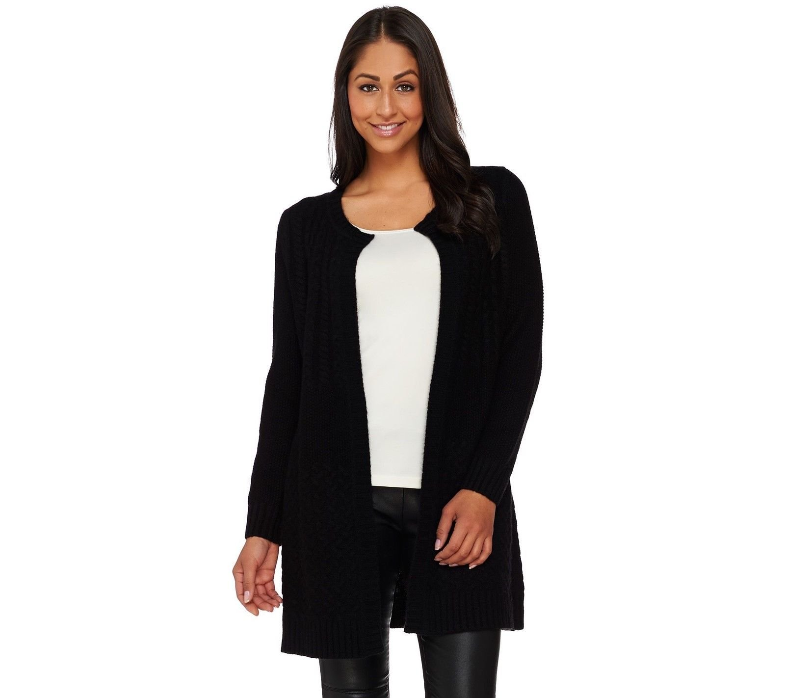 Isaac Mizrahi 2-Ply Cashmere Special Edition Sweater Coat Black S New A267929