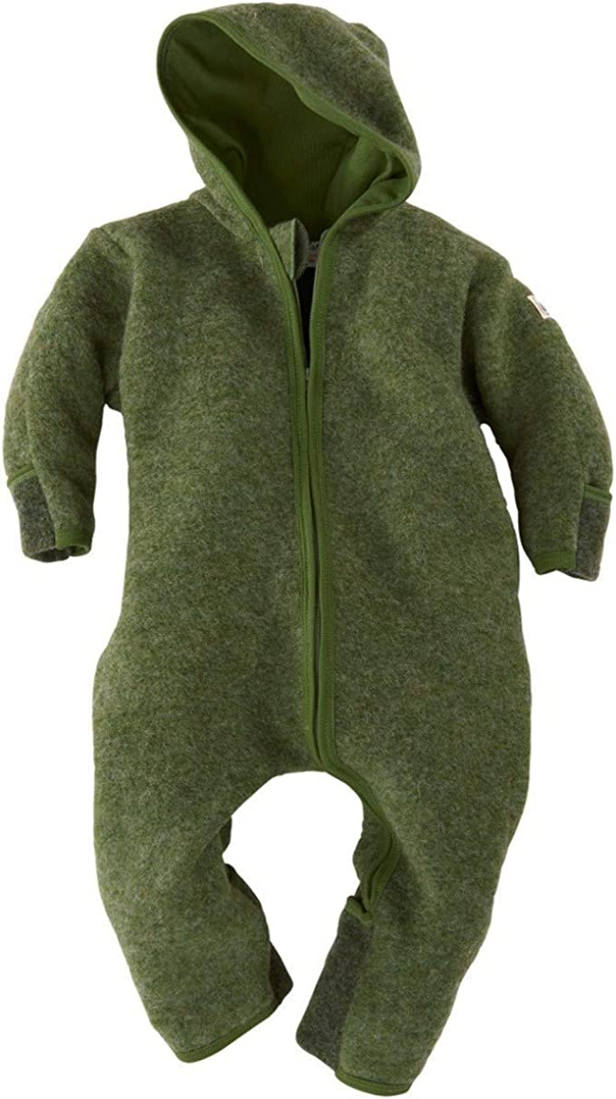340004 Made in Germany. Lilano Organic Merino Wool Baby Overall with Hood