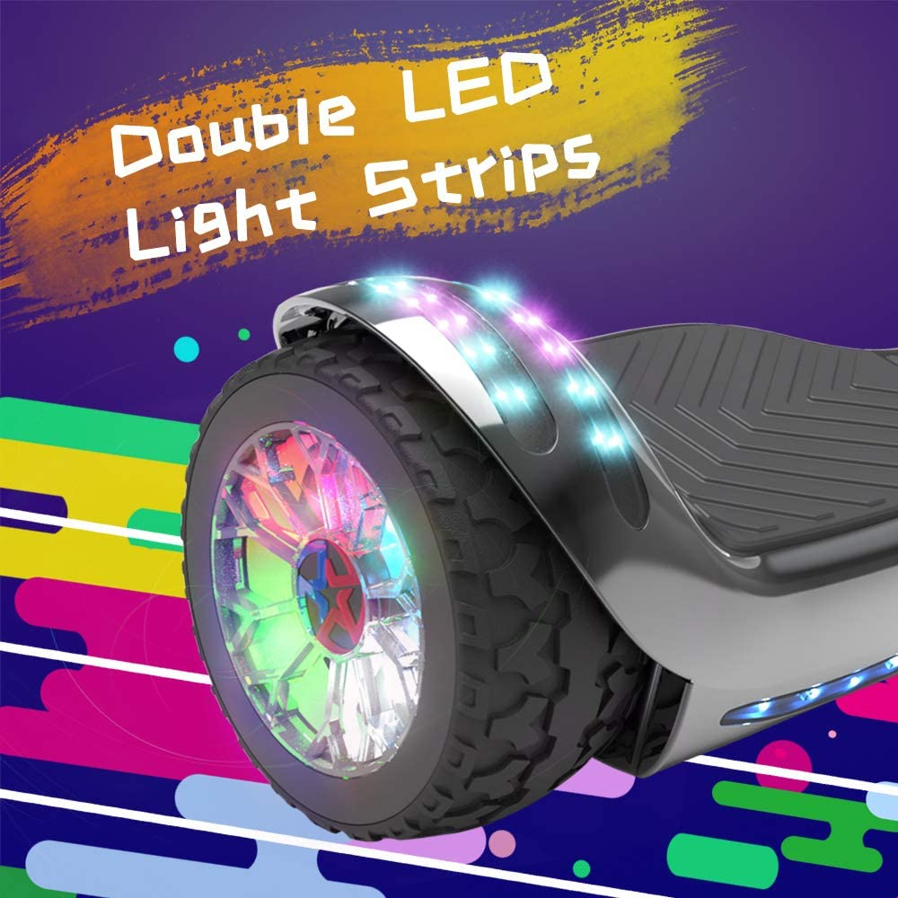 HOVERSTAR HS 2.0v Hoverboard All-Terrain Two Wide Wheels Design Self Balancing Flash Wheels Electric Scooter with Wireless Bluetooth Speaker and More LED Lights