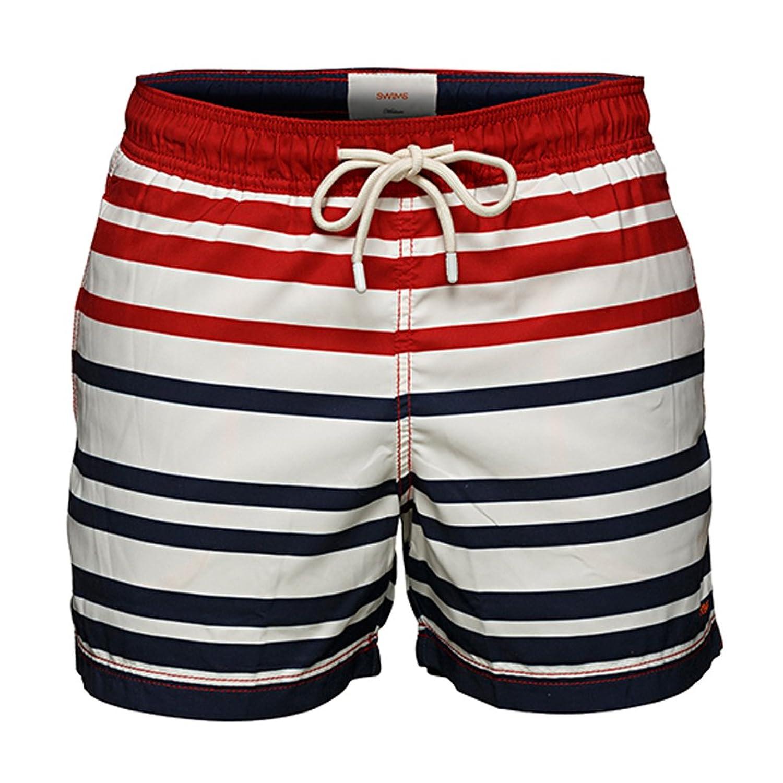 SWIMS - Swimming Trunks - Men - Red Gavitella Sailor Stripe Swim Shorts for men