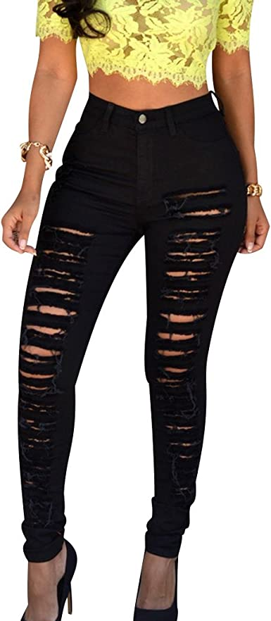 Womens Ripped Jeans Skinny High Waist Stretchy Jeggings Legging Pants Trouser YJ
