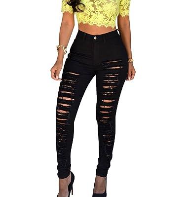 ISSHE Pantalones Vaqueros Cintura Alta Mujer Jeans Rotos Talle Alto Mujer  Vaqueros Skinny Slim Pantalon Vaquero Denim Tiro Alto Mujer Jeggings  Elasticos ... ebc1a283f6aa