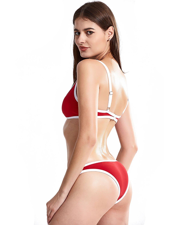 X-HERR Womens Sexy Push up Bandeau Bikini Set Color Block Padded Brazilian Cheeky Swimsuit (Medium,Candy Red+Sports Bra Style)