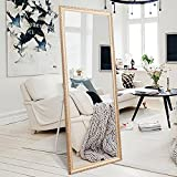 Full Length Large Floor Mirror, 65''x22'' Rectangle Wooden Finished Frame Mirror, Cheval Bedroom Free Standing Mirror, Dressing Mirror with Adjustable Stand for Bedroom, Champagne