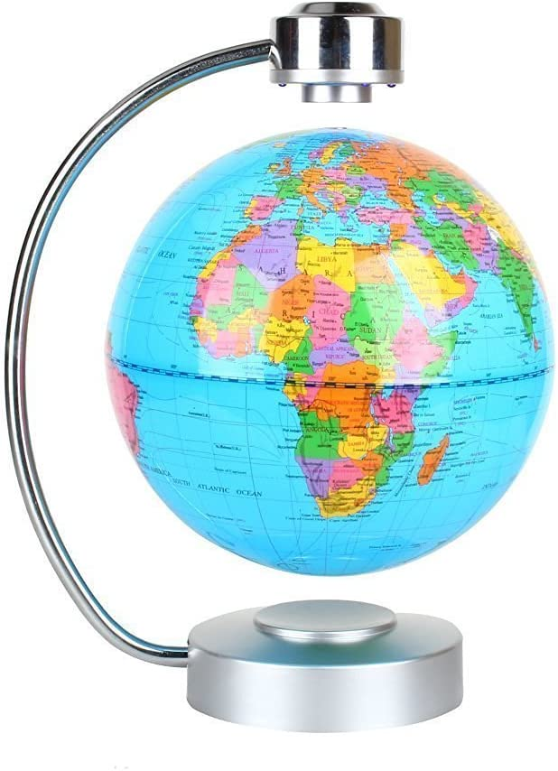 "Globes World, 8"" Magnetic Floating Globe mit geführt Light - Anti-Gravity Levitation Rotating Planet Earth Globe Stylish Zuhause Office Desktop Display Decoration (Blue)"