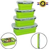 Qimh Lot de 4 piles de support pliable conteneurs de stockage de nourriture, Coque en silicone pliable déjeuner bento Box (B-4)