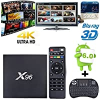 X96 Android 6.0 WIFI 2GB/16GB Smart TV Box with Amlogic S905X Quad Core 64 Bits and True 4K Playing with Backlit Mini Keyboard