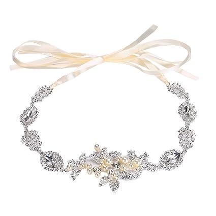 TININNA Moda Elegante Strass Lega Pearl Accessori per capelli Copricapo da  sposa Fascia per capelli sposa 36ab9e7067d2