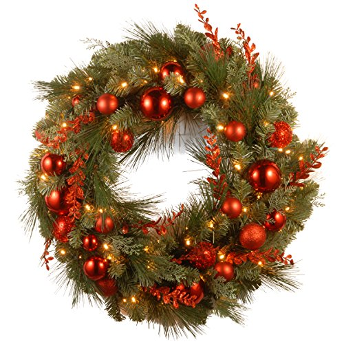 National Tree 24 Inch Decorative Collection Christmas Red Mixed Wreath with 50 Battery Operated Soft White LED Lights with Timer  (DC13-159-24WB-1) Soft Green Ball Ornament