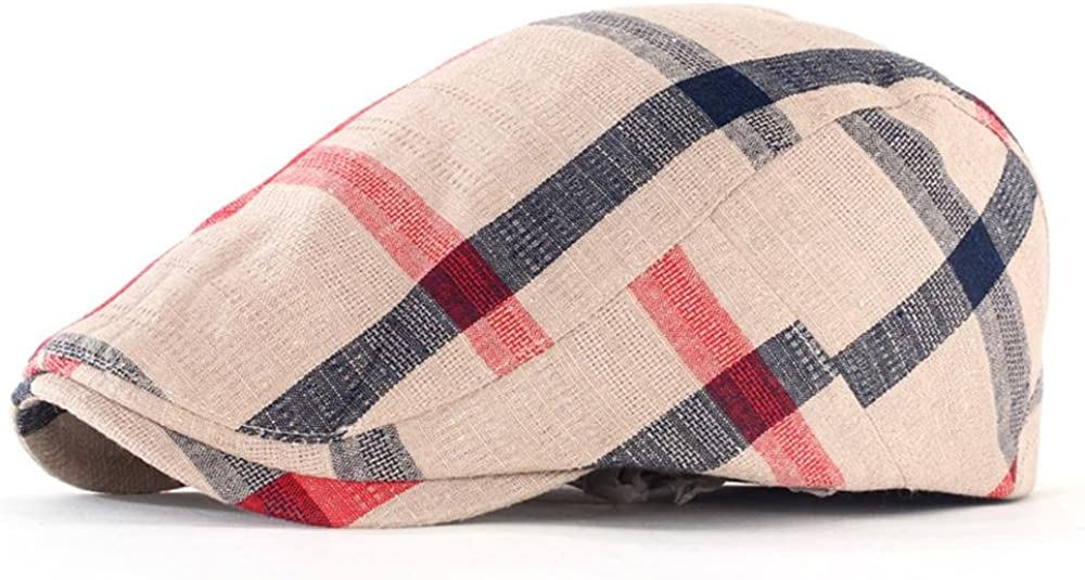 Linen Fabric Breathable Shade Color Grid Men and Women Berets