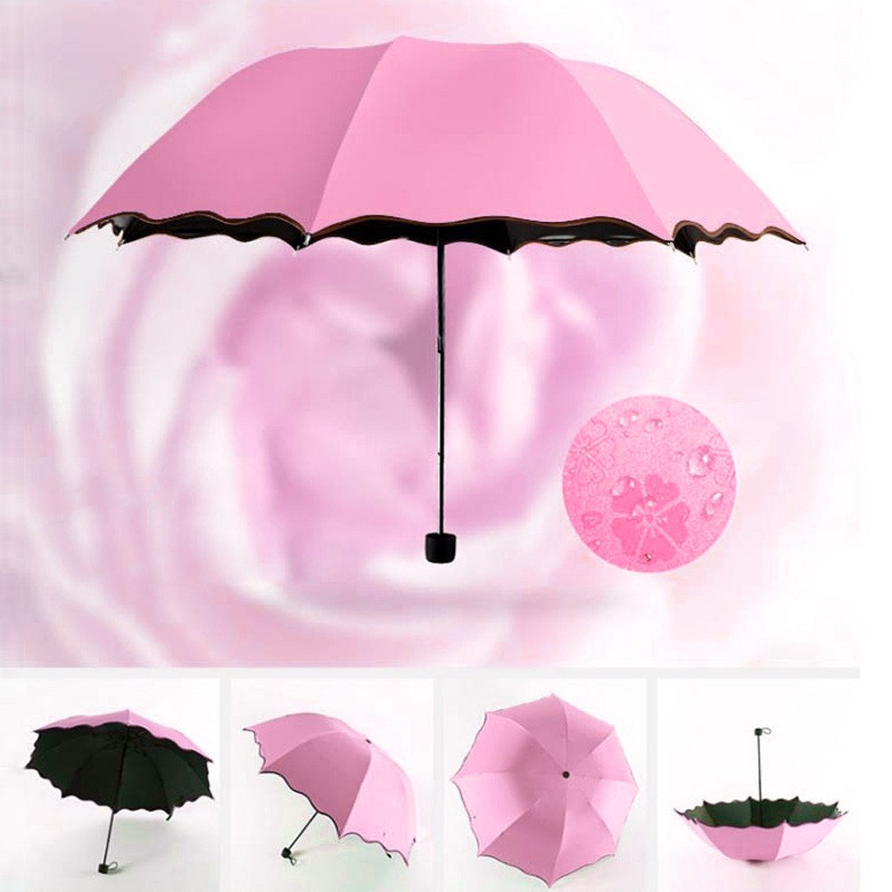 YunZyun Umbrella Windproof, Travel Umbrella Compact Folding Anti-UV Sun/Rain Portable Lightweight Umbrella for Women and Men (Pink)