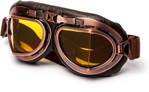 League Co Retrodesign Motorradbrille Pilotenbrille Schutzbrille Fliegerbrille Helm Brillen Gelb Auto