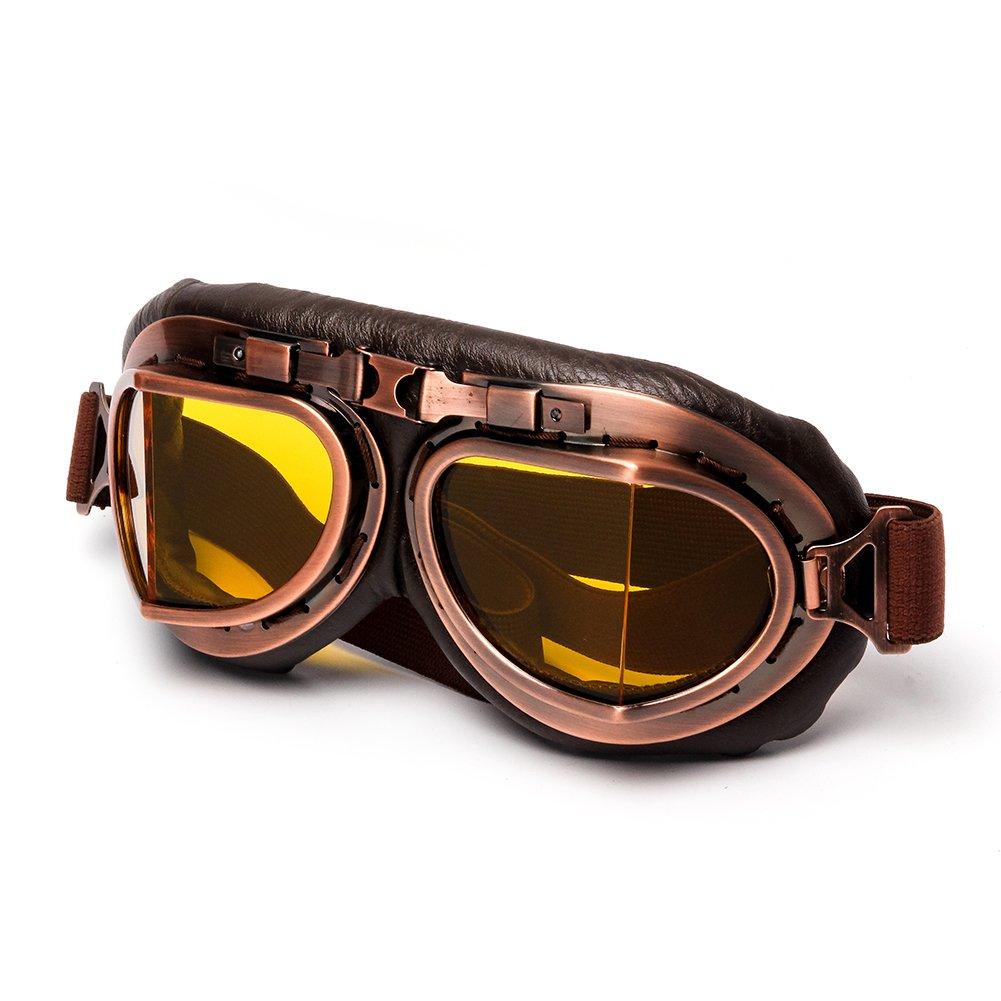 LEAGUE/&CO Retrodesign Motorradbrille Pilotenbrille Schutzbrille Fliegerbrille Helm Brillen