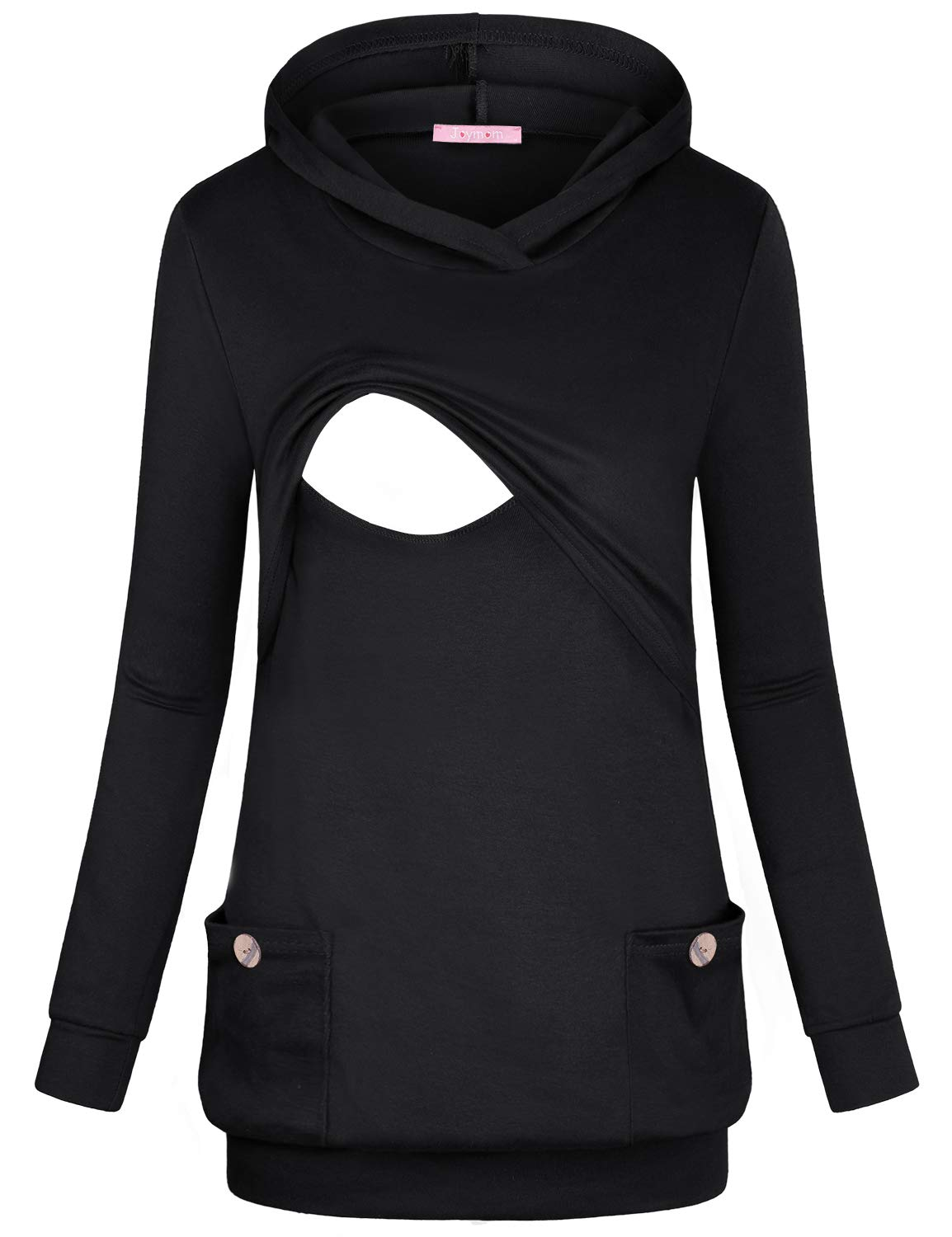 JOYMOM Maternity Sweatshirts Hoodie Women, Pregnancy V Neck Long Sleeve Pullover Hoodie Nursing Tops with Pockets Lightweight Silky Cotton Blend Breastfeeding Tunic Leisure Travel Wear Black XX-Large