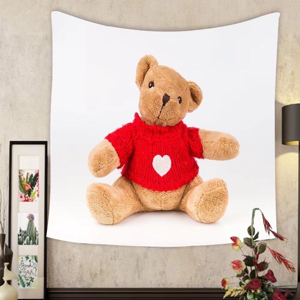 Jacquelyn A. Velasquez Custom tapestry teddy bear on white background bow cute art nice love floor baby play child one joy doll studio