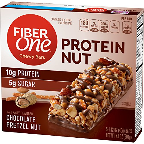 (Fiber One Snacks Chocolate Pretzel Protein Nut Chewy Bars Wrappers, 5 Count (Pack of)