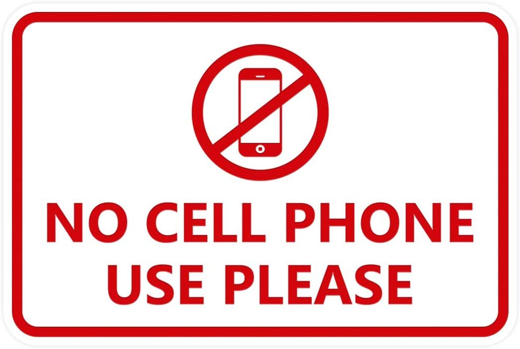Signs ByLITA Classic Framed No Cell Phone Use Please Sign Small Red//Yellow