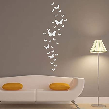 Yinasi 3d Diy Butterfly Art Silver Acrylic Mirror Wall Sticker Home Decor For Living Room Bedroom 30pcs Removable Wall Decor Home Decoration Amazon Co Uk Kitchen Home