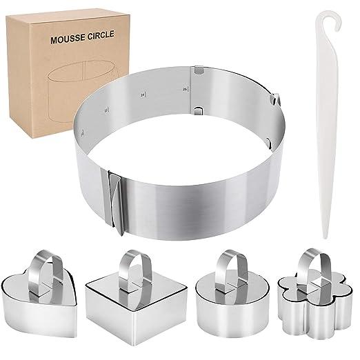 WisFox 6pcs Cocina Juego de Anillos de Acero Inoxidable Ajustable Mousse Círculo Pastel Molde, 4 Formas Diferentes para Cocina, Hornear, Diseño de ...