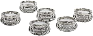 Koyal Wholesale Bloom Tea Light Holders, 6-Pack Petite Glass Tealight Cup, Silver Mercury with Silver Rim Vintage, Boho Wedding Tealight Cup