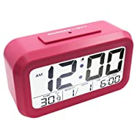 Digital Alarm Clock, EASEHOME Electronic LCD Alarm Clocks Smart Digital Clock Display Calendar Temperature Snooze Night Light Battery Travel Clock for Bedside Bedroom Home