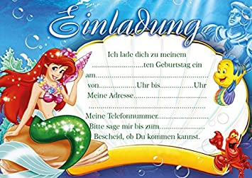 10 Einladungen Zum Kindergeburtstag Arielle Die Meerjungfrau Ariel The  Little Mermaid