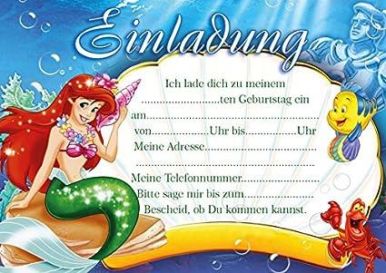 10 invitaciones para cumpleaños infantiles Ariel La Sirenita ...