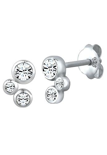 Elli Women's 925 Sterling Silver Xilion Cut Swarovski Crystal Earrings ZwtnFdXm