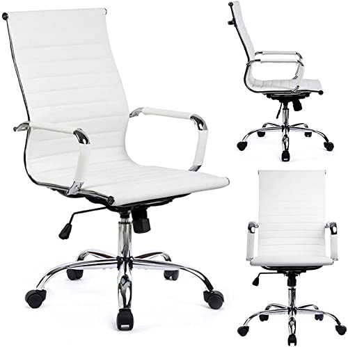 GTPOFFICE Ribbed Office Desk Chair Mid-Back PU Leather Executive Conference Task Chair Adjustable Swivel Chair White