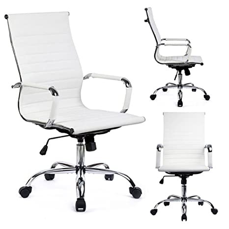Amazing Gtpoffice Desk Chair Ribbed Conference Office Chair Modern Swivel Leather High Back Ergonomic Adjustable Chair With Arms White Inzonedesignstudio Interior Chair Design Inzonedesignstudiocom
