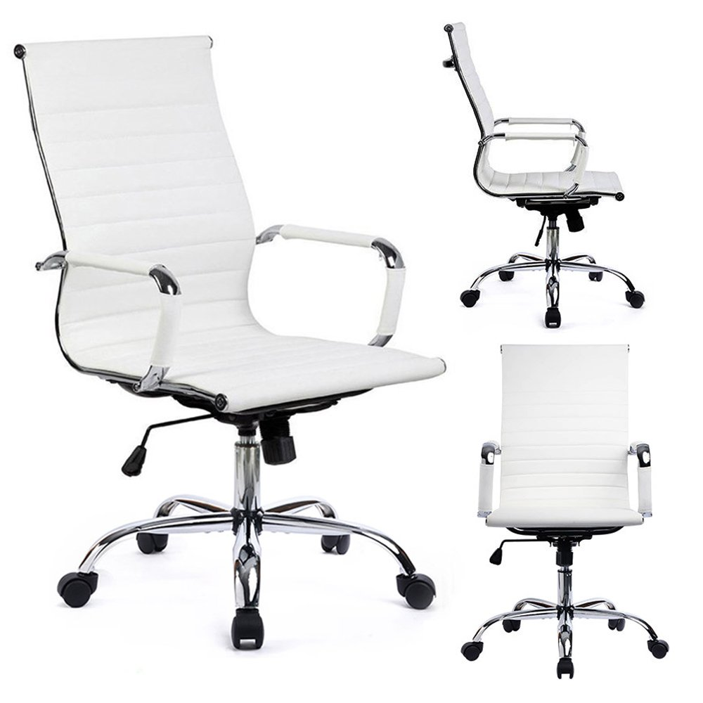 GTRACING Ribbed Office Desk Chair Modern Conference Chair Executive Swivel PU Leather Ergonomic Design Computer Chair High-Back GT838-Black (White)