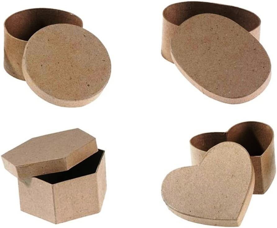 4 White Paper Mache Oval Shape Boxes to Decorate Crafts Asst Sizes Creative