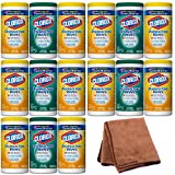 Clorox Disinfecting Wipes Value Pack, Fresh Scent and Citrus Blend, 225 Count (Packaging May Vary), 5-Pack with Cleaning Cloth