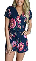 YOMISOY Womens Floral Printed Warp Rompers Sexy Deep V Neck Long Sleeve Short Jumpsuits Shorts