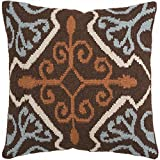 22'' Holy Flowers LIght Blue and Chocolate Brown Decorative Throw Pillow - Down Filler