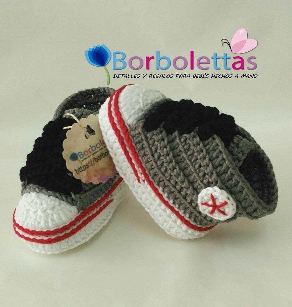 Patucos para Bebé Recién Nacido tipo Converse, 0-3 meses Gris ...